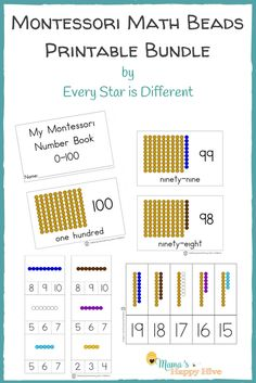 This Montessori Math Beads Printable Bundle is hands-on learning for the numbers 0-100 and can be combined with Montessori math materials if desired! - www.mamashappyhive.com