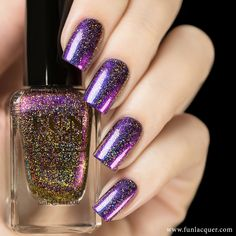 This duochrome polish has holographic glitter of purples, blues, reds, oranges, yellows, and a little green to make your nails look luxurious. Fully opaque in 2-3 coats! Collection: New Year 2015 Coll