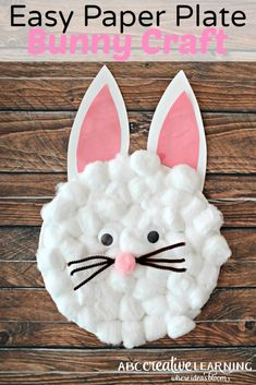 Easy Paper Plate Bunny Craft for Kids. Great for creatiting an easy Easter craft for the kids. - abccreativelarning.com