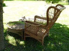 Wicker Wing Chair and Ottoman Classic Vintage by poppycottage