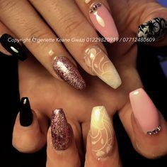 Pink & white ombré acrylic nails, black & pink gel polish, pink glitter and Swarovski crystal nail art.