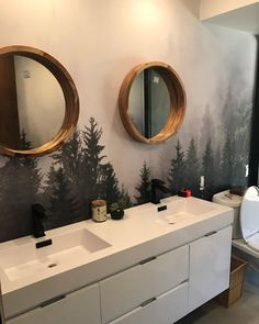 used our Misty Forest Wall Mural in her bathroom. The mirrors that she chose really tie in the entire theme. Bathroom Mural, Bathroom Images, Zen Bathroom, Downstairs Bathroom, Bathroom Ideas, Bathrooms, Forest Mural, Forest Room, Bath