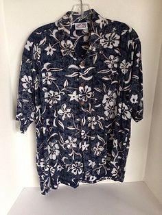 37cee0b9 Ron Jon Surf Shop Blue Reverse Print Hawaiian Shirt Men Medium Hibiscus  Plumeria #RonJon #