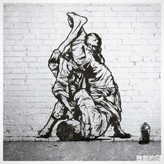 Great piece of street art! Jiu Jitsu Gym, Jiu Jitsu Belts, Jiu Jitsu Training, Ju Jitsu, Judo, Bjj Tattoo, Jiu Jitsu Quotes, Jiu Jitsu Videos, Jiu Jitsu Techniques