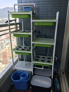 Eliooo Hydroponics: more shelves & the seedling box is now outdoor too.