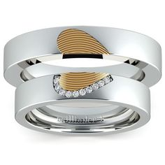 Matching Heart Fingerprint Inlay Wedding Ring Set in White and Yellow Gold www.brilliance.co...