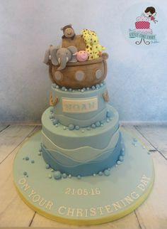 Noah's Ark Christening Cake, based on design by Simply Sweet - Cakes and Cupcakes www.littlecakefairydublin.com www.facebook.com/littlecakefairydublin Cupcake Cakes, Cupcakes, Little Cakes, Sweet Cakes, Baby Shower Cakes, Ark, Christening, Facebook, Desserts