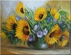 Malarstwo i Fotografia - Ewa Bartosik: Kwiaty Polne Sunflower Art, Botanical Art, Pretty Pictures, Decoupage, Projects To Try, Arts And Crafts, Vase, Drawings, Plants