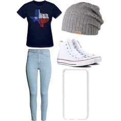 Texasssss by alannaxjonnesx on Polyvore featuring polyvore, fashion, style, H&M, Converse, Squair and Barts