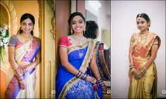 South Indian bride. Temple jewelry. Jhumkis.silk kanchipuram sari with contrast blouse.Braid with fresh flowers. Tamil bride. Telugu bride. Kannada bride. Hindu bride. Malayalee bride.