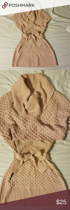 Cowell neck sweater dress Such a cute outfit for fall with leggings and boots! Ties in the middle. Nice creamy pink color. No signs of wear. Candie's Dresses