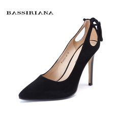 High heels shoes woman 2017 Genuine suede leather women Pumps Thin Spike Heel  Pointed Toe Spring 8fb867e5828d