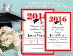 Graduation Invitation Template, instant download, edit your self invitation, red, DIY invitation, grade party 2016, class of 2016 party, PSD