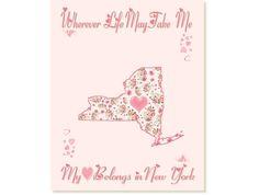 Art Print Hearts and Flowers New York by PatriotIslandDesigns, $14.00