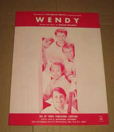 """Vintage original sheet music for the 1964 Beach Boys hit song """"Wendy"""" Sea of Tunes Publishing Co., Hawthorne CA. copyright 1964 Brother Records"""