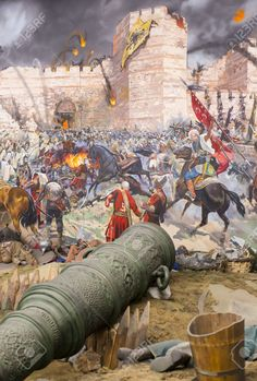 Picture of ISTANBUL, TURKEY - OCTOBER Fall of Constantinople in Captured by Mehmet. Panorama Museum Military, Istanbul, Turke stock photo, images and stock photography. Sultan Ottoman, Empire Logo, Fall Of Constantinople, Medieval, Warrior Paint, Islamic Paintings, Turkish Art, Islamic Art Calligraphy, Historical Art