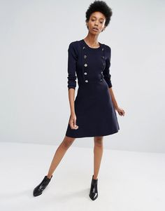 Image 4 of Y.A.S Tall Elina Knitted Button Front Skater Dress