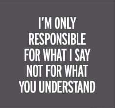 I'm only responsible of what I say