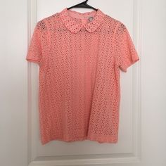 J. Crew shirt Adorable coral J. Crew shirt with a Peter Pan collar. Perfect for spring. Bought at a J. Crew warehouse sale (reason for the black line through tag). Make me an offer :) J. Crew Tops Blouses