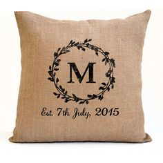 Couple Gift Pillow Covers Monogram Pillowcase Est Date Pillow Natural Burlap Cushion Personalized Wedding Engagement Anniversary Unique Gift More farmhouse pillow covers at The Swanky Rooster. Burlap Fabric, Burlap Pillows, Decorative Pillows, Throw Pillows, Accent Pillows, Wedding Gift Registry, Wedding Gifts, Wedding Favors, Wedding Invitations