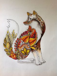 September Fox   From the Enchanted Forest Coloring book of Johanna Basford