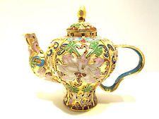 Chinese Vintage Cloisonne Tea Pot Bronze Brass Copper Enamel Handmade