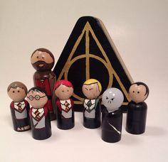 Harry Potter peg Doll set  8 piece set  includes by 3CraziesCrafts, $50.00