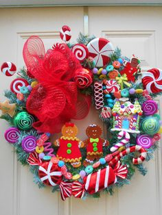 Beautifully handmade gingerbread wreath in bright, traditional colors of red and green, pink and more. Lots and lots of time in this beauty