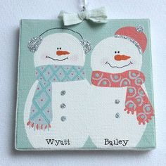 Snowman ornament personalize 4x4 canvases by bristlesprout on Etsy