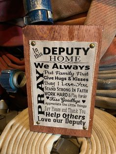 Gifts For Husband, Diy Gifts For Boyfriend, Gifts For Her, Great Gifts, Fire Hose, Rustic Signs, Deputy Sheriff, Home Signs, Brass Tacks