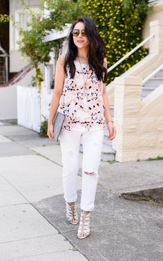 Distressed white denim and cute printed top for summer