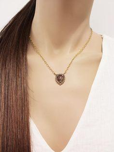 Cathy Waterman Rustic Diamond Shield Necklace 22 Karat Gold