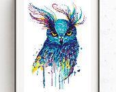 Owl cross stitch pattern Watercolor birds Counted xstitch sampler Modern animal pdf pattern Birthday DIY gift Baby shower gift Nursery decor