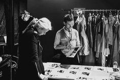 Backstage at Shanghai Fashion week designer Jeff Garner with model Meaghan