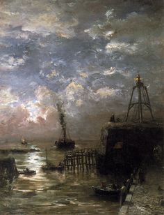 Jetty at Vlissingen in Moonlight, Hendrik Willem Mesdag