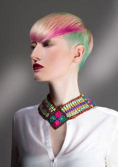 Hair awards winner, colorful hair, creative hair color, trend short cut and styling, undercut, beauty make-up, hair salon.  Frisuren trend, friseur, haar styling, kurz Haarschnitt, bunte haare, Haarfarbe für Kurzhaar, Stilist.