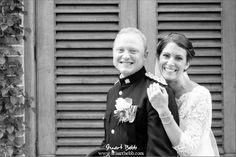 B&W portrait of the bride and groom at The Dairy Waddesdon Manor