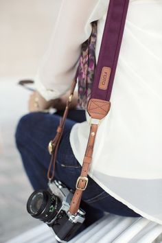 The Merlot Fotostrap - a beautiful wine colored canvas and leather camera strap! All Fotostraps are made in the USA, of proceeds are donated to Fotolanthropy, and offer custom monogramming to the leather shoulder pad. Add your name, initials, monogram Leather Camera Strap, Camera Straps, Camera Hacks, Camera Gear, Camera Life, Slr Camera, Cameras Nikon, Dslr Photography Tips, Fotografia