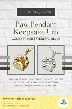 This animal paw print is fillable through a threaded screw in the back. It can have a maximum of three characters for text engraving (engraving not included). Pet Memorial Jewelry, Dog Memorial, Keepsake Urns, Pet Loss, Pet Memorials, Pet Gifts, Black Velvet, Sterling Silver Pendants, Characters