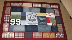 Memorial quilt made from men's shirts, jeans, and t shirts
