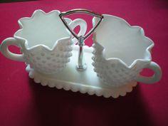 Fenton Hobnail Milk Glass Cream and Sugar Set by VintageNona, $24.00