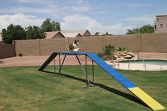 Competition grade dog walk that is easy to move yet designed for years of heavy use.Disassembles into just 5 parts  (2 ramps, 1 center bridge and 2 legs).  Ramps are 12 feet long (with or without slats as designated by the venue) and a 12 foot long center bridge. Legs are adjustable for training can can be set at 4 foot, 3 foot or 2 foot tall. The ramps are secured by easily removable steel pins.The legs are easily removable and fold flat for efficient storage.
