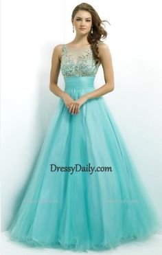 Ball Gown Scoop Tulle with Beading Blue Prom Dress - PROM Buliruhák 1a969eccd5