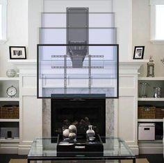 Tv Mount Over Fireplace, Mantel Mount, Above Fireplace Ideas, Fireplace Tv Wall, Shiplap Fireplace, Fireplace Design, Tv Mounted Above Fireplace, Mantle, Bookshelves Around Fireplace