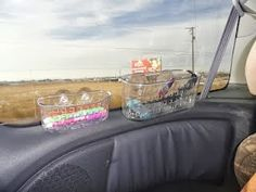 Awesome pictures - Pinterest is Cool: Use shower containers as travel cubbies for kids for road trips. Great to hold drinks, snacks, toys and activities, trash, etc.
