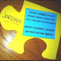 """You're a piece of the puzzle we couldn't do without! -- Good """"door dec""""-type appreciation for co-workers #StudentEmployment #FWS"""
