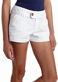 Red Camel® Solid Twill Tab Short - This solid short offers versatility since it can be easily dressed up or down. Pair with a wedge sandal to dress up or with a flat sandal to dress down. Either way, the end result will be fabulous.