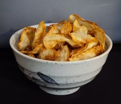 How to Make Fried Celeriac (celery root) Chips: from about low carb.  Use as a replacement for taco chips in nachos.