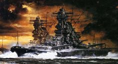 Musashi was the second of the Yamato-class battleships; she shared the honor with the lead ship, as the largest battleship ever constructed in naval history. Imperial Japanese Navy, War Thunder, Naval History, Musashi, Ship Art, Military Art, War Machine, World War Two, Wwii