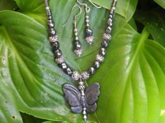 Sterling Hematite Butterfly necklace and earrings by Jadelsjewelry, $95.00
